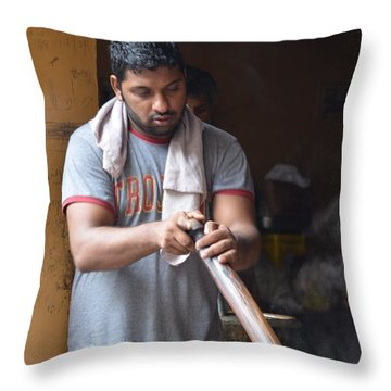 Throw Pillow featuring the photograph Cooking Breakfast Early Morning Lahore Pakistan by Imran Ahmed