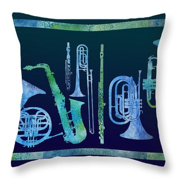 Cool Blue Band Throw Pillow by Jenny Armitage