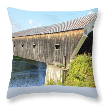 Throw Pillow featuring the photograph Cornish-windsor Covered Bridge IIi by Edward Fielding