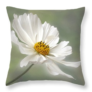 Cosmos Flower In White Throw Pillow