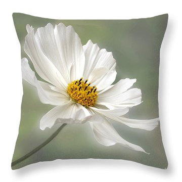 Cosmos Flower In White Throw Pillow by Kaye Menner