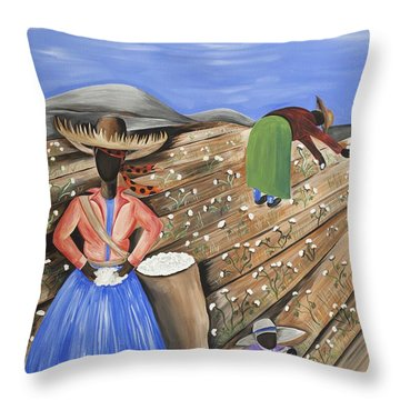Cotton Pickin' Cotton Throw Pillow by Patricia Sabree