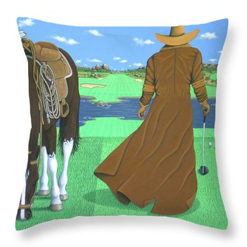 Cowboy Caddy Throw Pillow by Lance Headlee
