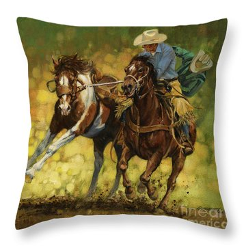 Rodeo Pickup Throw Pillow by Don  Langeneckert
