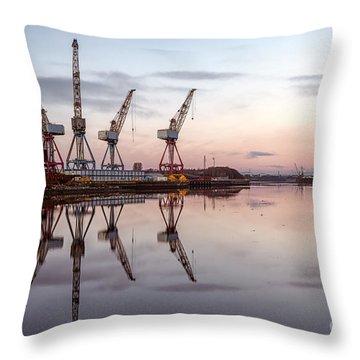 Cranes On The Clyde  Throw Pillow by John Farnan