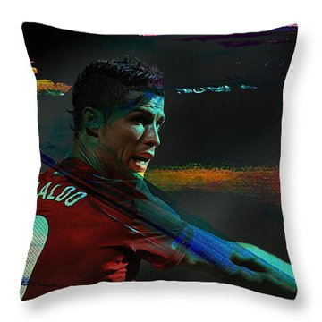 Cristiano Ronaldo Throw Pillow by Marvin Blaine