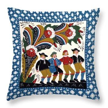 Dancing Men  Throw Pillow by Leif Sodergren