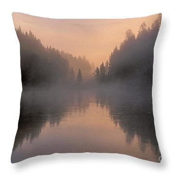 Dawn On The Yellowstone River Throw Pillow by Sandra Bronstein
