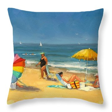 Day At The Beach Throw Pillow by Laura Lee Zanghetti
