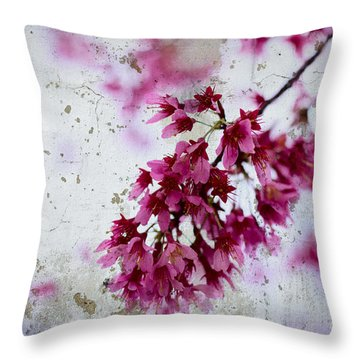 Deep Pink Flowers With Grey Concrete Texture Background Throw Pillow