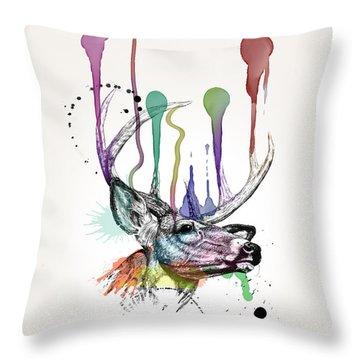 Deer Throw Pillow by Mark Ashkenazi
