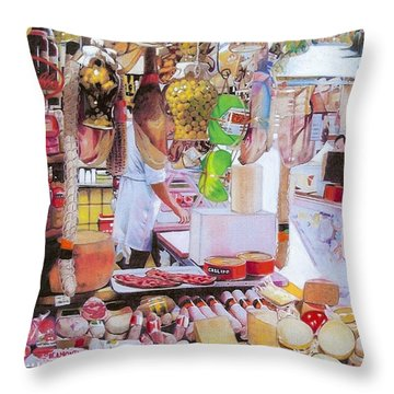 Deli On The Via Condotti Throw Pillow