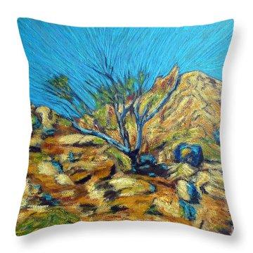 Desert Tree In Blazing Sun Throw Pillow