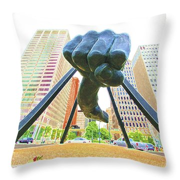 Detroit Fist Throw Pillow