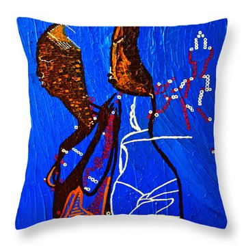 Dinka Embrace - South Sudan Throw Pillow by Gloria Ssali