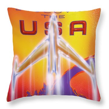 Throw Pillow featuring the painting Discover The Usa by Alan Johnson
