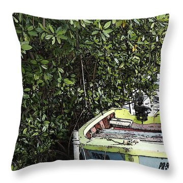 Throw Pillow featuring the photograph Docked By The Mangrove Trees by Lilliana Mendez