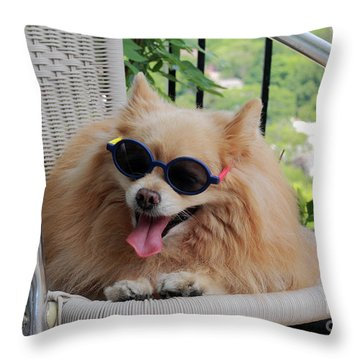 Lazy Dog Throw Pillow by Charline Xia