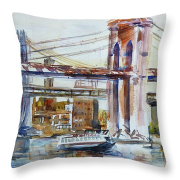 Throw Pillow featuring the painting Downtown Bridge by Xueling Zou