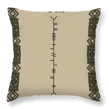 Throw Pillow featuring the digital art Doyle Written In Ogham by Ireland Calling