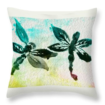 Throw Pillow featuring the digital art 2 Dragonflies Abstract by Frank Bright