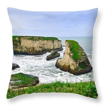 Dramatic Panoramic View Of Shark Fin Cove Throw Pillow by Jamie Pham