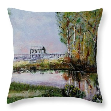 Fairhope Al. Duck Pond Throw Pillow by Melvin Turner