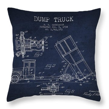 Dump Truck Patent Drawing From 1934 Throw Pillow by Aged Pixel