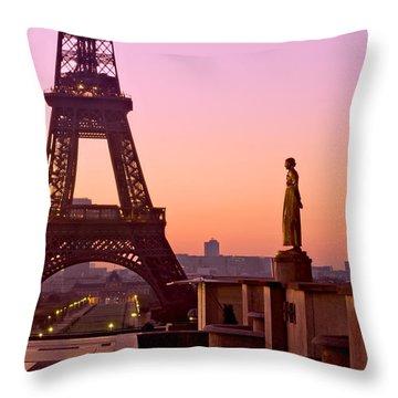 Eiffel Tower At Dawn / Paris Throw Pillow