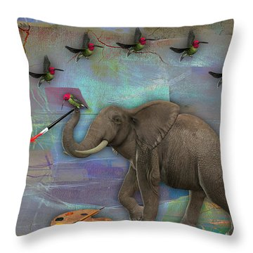 Elephant Painting Throw Pillow