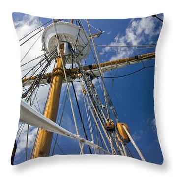 Throw Pillow featuring the photograph Elizabeth II Mast Rigging by Greg Reed