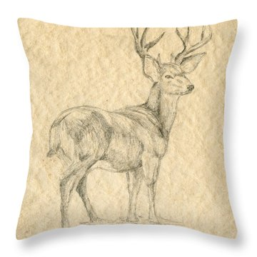 Throw Pillow featuring the drawing Elk by Mary Ellen Anderson