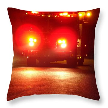 Fire Truck At Night Throw Pillow