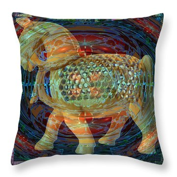 Ethnic Woodcraft Horse Decorated Toy Game Gems Jewels Special Occasion Background Designs  And Color Throw Pillow