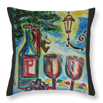 Throw Pillow featuring the painting European Wine by Diane Pape