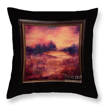 Evening Amber Throw Pillow by Glory Wood