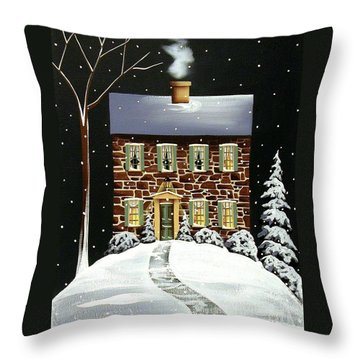 Evergreen Cottage Throw Pillow by Catherine Holman