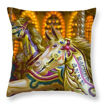 Throw Pillow featuring the photograph Fairground Carousel by Lee Avison