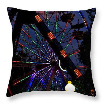 Fall Festival Ferris Wheel Throw Pillow by Deena Stoddard