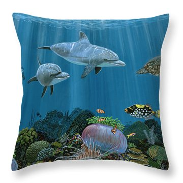 Fantasy Reef Re0020 Throw Pillow by Carey Chen