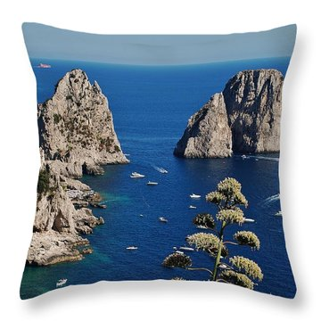 Faraglioni In Capri Throw Pillow