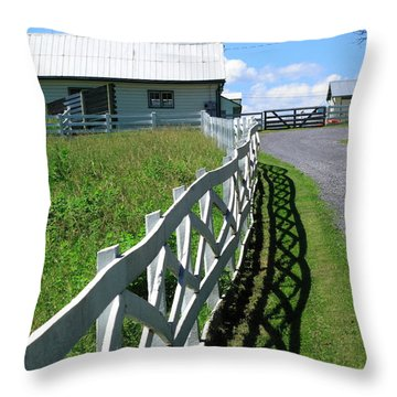 Farm And Fence Throw Pillow by Frank Romeo