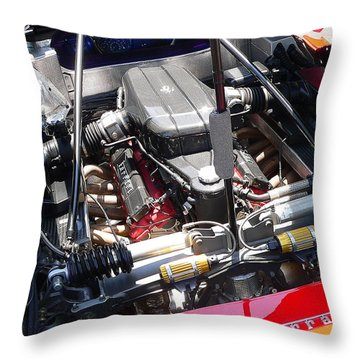 Throw Pillow featuring the photograph Ferrari Engine by Jeff Lowe