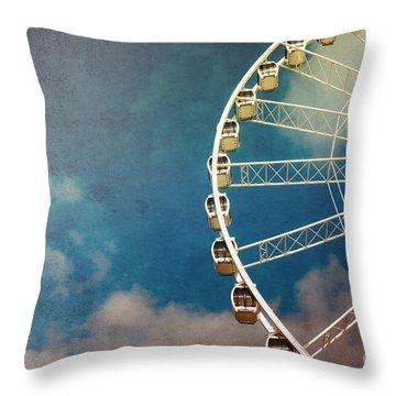 Ferris Wheel Retro Throw Pillow by Jane Rix