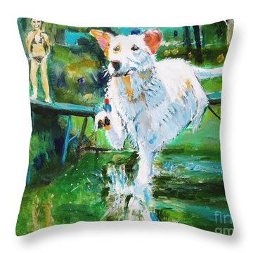 Throw Pillow featuring the painting Fetching by Judy Kay