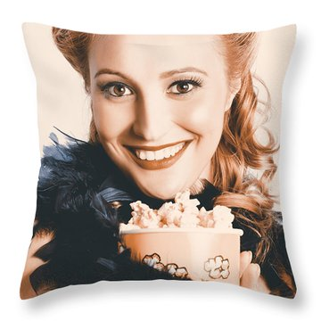 Fifties Pinup Woman Seeing Movie At Retro Cinema Throw Pillow