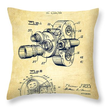 Film Camera Patent Drawing From 1938 Throw Pillow