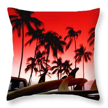 Fins N' Palms Throw Pillow by Sean Davey