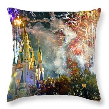 Fireworks Cinderellas Castle Walt Disney World Throw Pillow