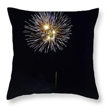 Fireworks Shell Burst Over The St Petersburg Pier Throw Pillow by Jay Droggitis